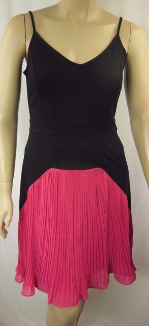 City Chic Black Pink Strappy 50s Pleat Diva Dress Plus Size S 16