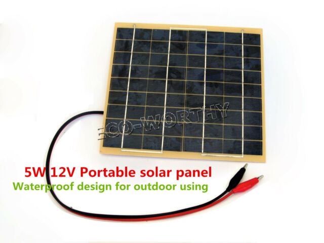 5W Epoxy Solar Panel w/ Battery Charger &1m Cable for 12V Garden Fountain Pond