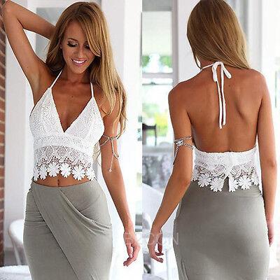 Women's Sexy Crop Top Lace Crochet Halter Tank Summer Beach Shirt White Blouse