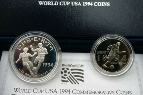 1994 World Cup Soccer Proof 2 Coin Set 90/% Silver Dollar and 50 Cent Box and COA