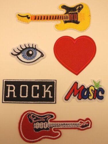 """/""""I Love Rock /'n Roll/"""" Music Patch Set~Embroidered~6 Types~Iron Sew On~US Seller"""