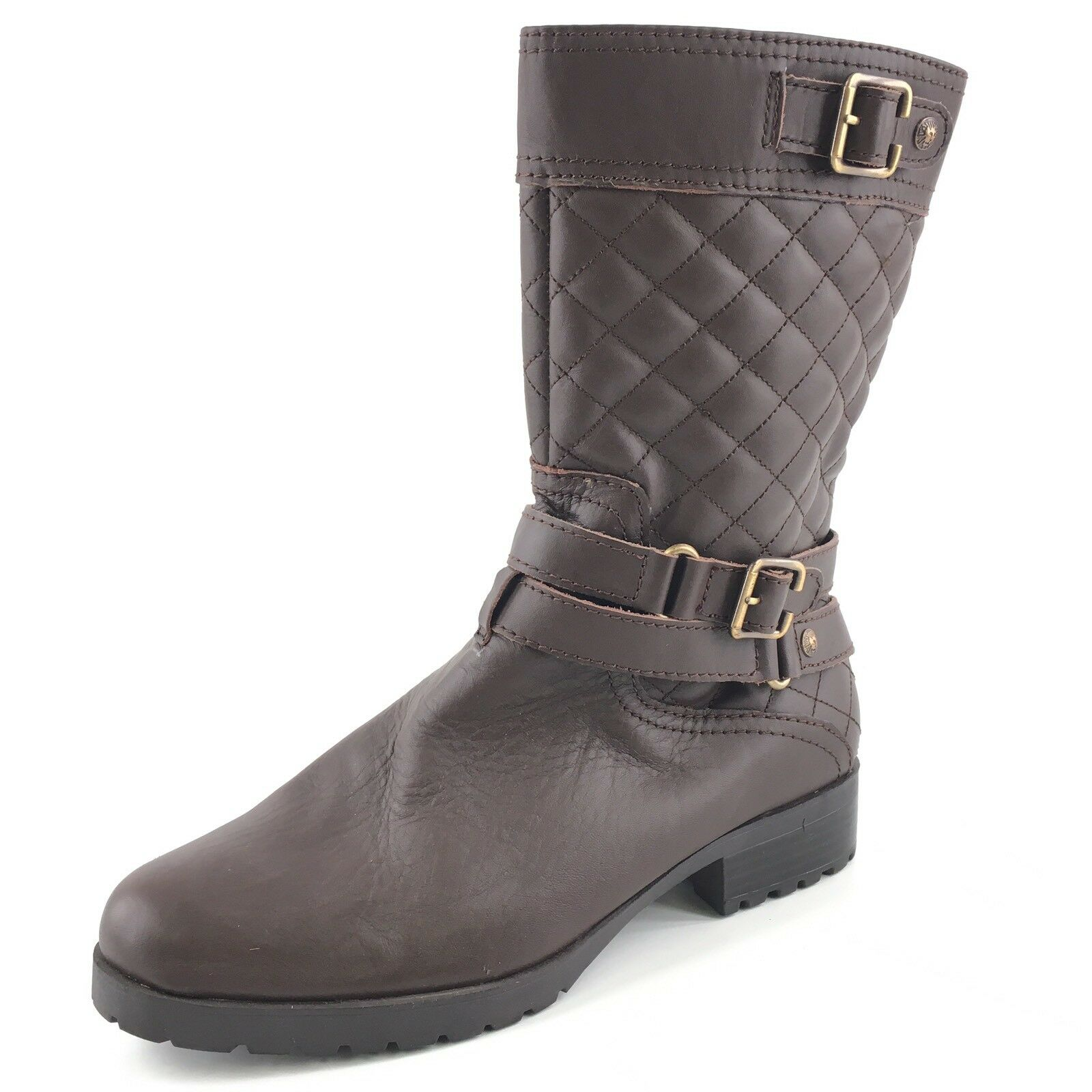 AK Anne Klein Women's Callforth Brown Leather Quilted Equestrian Boot Size 9 M*