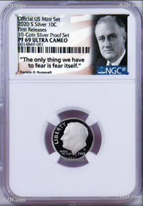 2020-S-Proof-10C-Silver-Dime-NGC-PF69-UCAMEO-in-10-coin-set-Roosevelt-label-FR