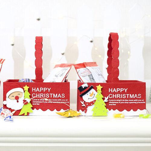 3x Christmas Felt Fabric Basket Tray Xmas Candy Party Fruit Hamper Gift Box Wrap