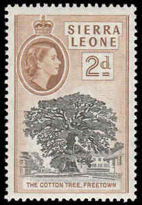 "Scott # 198 - 1956 - ""cotton Tree, Freetown""-afficher Le Titre D'origine"