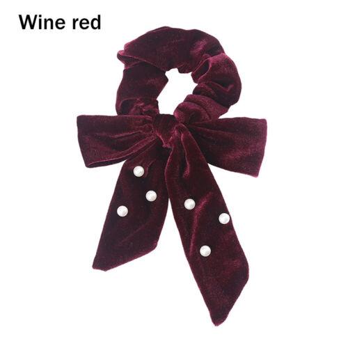 Pearls Velvet Scrunchies Women Girls Bowknot Hair Tie Rope Ponytail Holder
