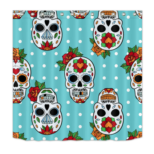 Mexican Retro Dots Shower Curtain Waterproof Suger Skull Polyester Bath Mat