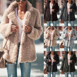 Womens-Teddy-Bear-Coat-Jacket-Winter-Warm-Fur-Lapel-Long-Sleeve-Outwear-Overcoat