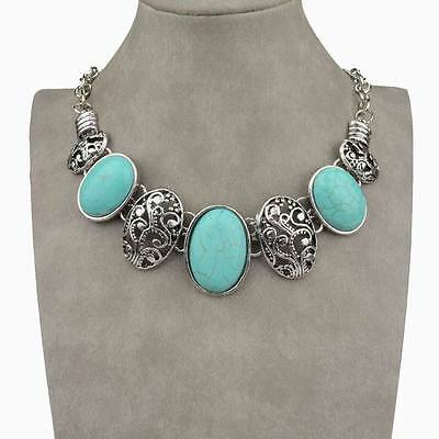 Vintage Popular Genuine Oval Turquoise Cameo Collar Statement Necklace Pendant
