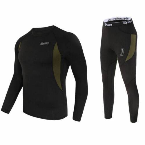Men/'s Winter Warm Tactical Fleece Underwear set Thermal clothes Sports OutdoorUK