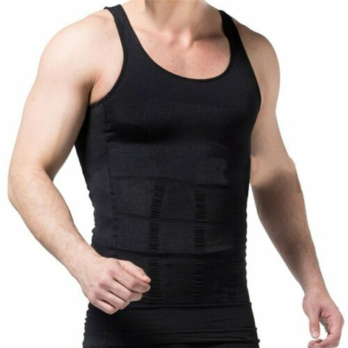 Men/'s Seamless Slimming Body Shaper Vest Abdomen T-Shirt Compression Gym Tank US