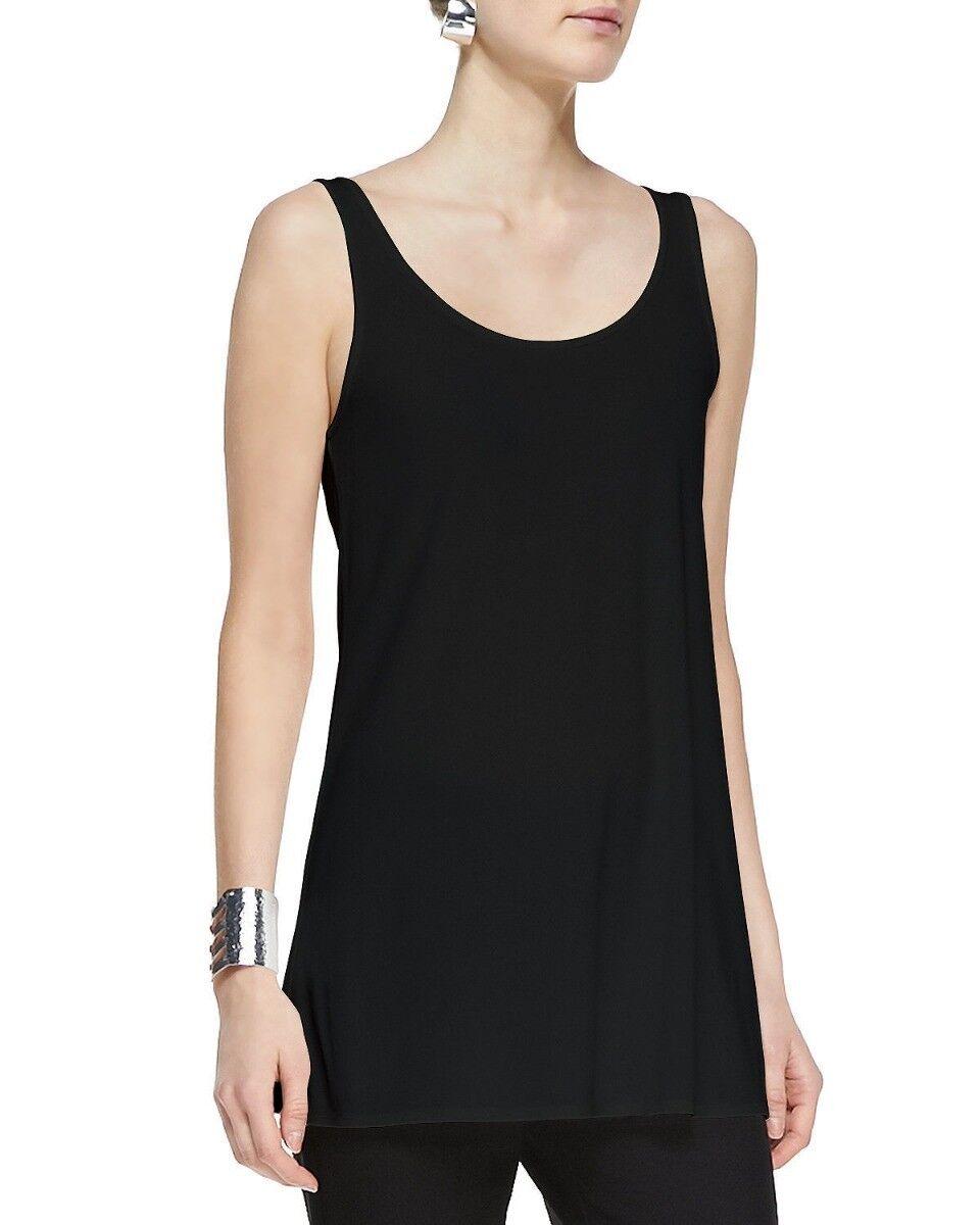 Eileen Fisher schwarz Stretch Silk Jersey Scoopneck Long Tank Top Tunic XS NWT