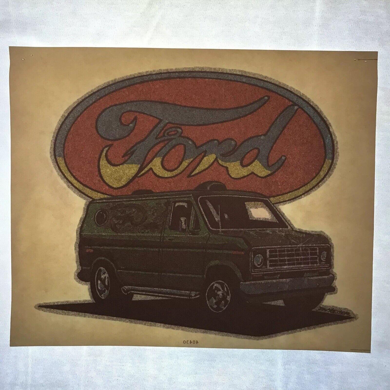 Vintage 70's Custom Ford Van Heat Transfer (Iron-On) Glitter