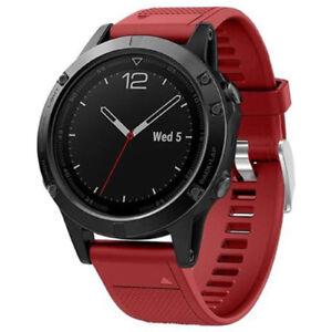 General-de-marque-Rouge-Silicone-Bracelet-Pour-Garmin-Fenix-5-Smartwatch