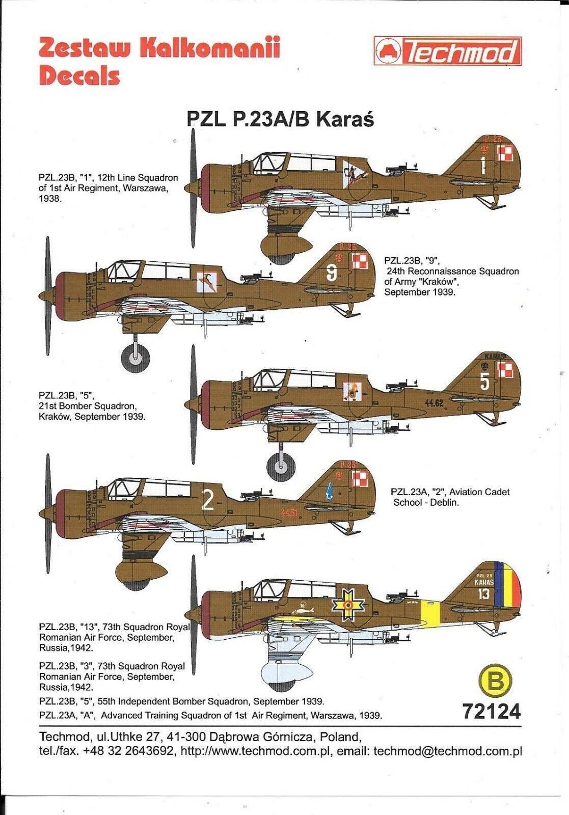 Techmod Pzl P 23A B Karas, Polierung, Rumänisch Markierungen, Deko in 1 72 124