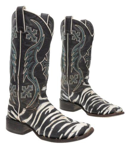 NOCONA Cowboy Boots 6.5 B Womens Zebra Stingray Pr