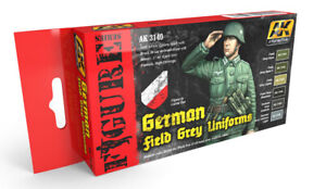 "6 X ACRYLIC COLORS """"GERMAN FIELD GREY UNIFORMS -  AK INTERACTIVE AK 3140"