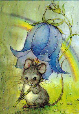 SMART MOUSE USES BELL-FLOWER AS UMBRELLA Modern Russian card by Lisi Martin