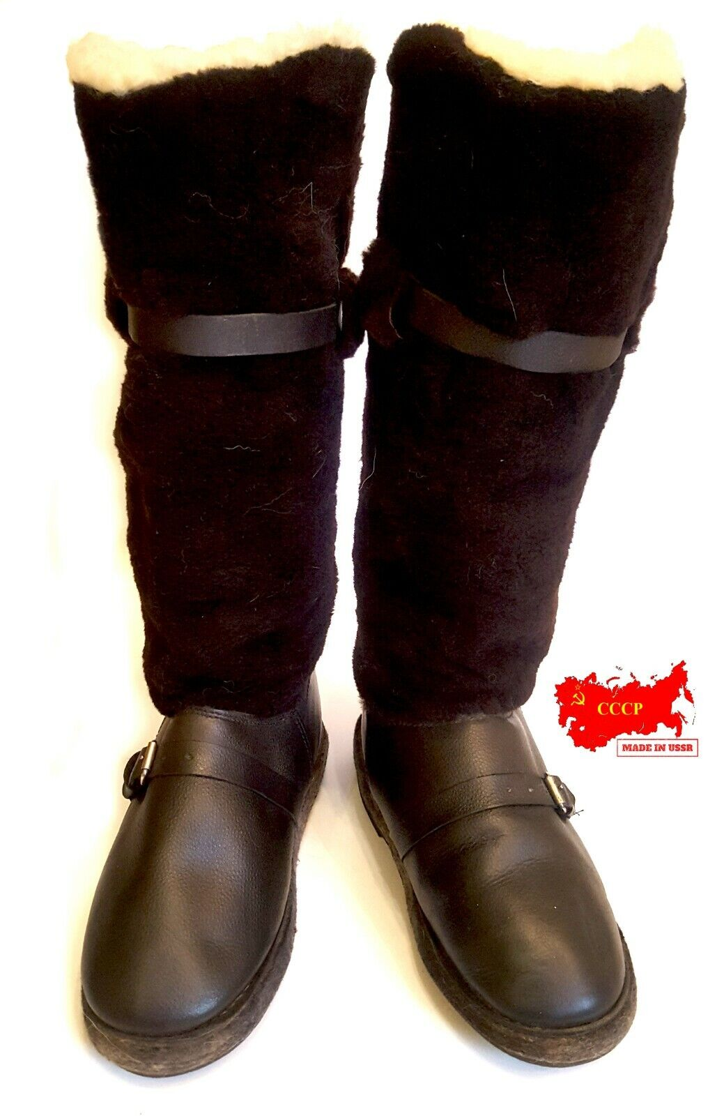 NEW  VERY WARM FUR FOOT Stiefel OF THE RUSSIAN RUSSIAN RUSSIAN PILOT. NATURAL SHUTTER AND LEATHER. 46ac94