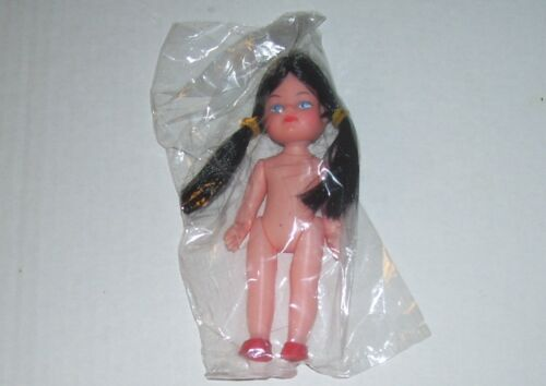 Dime Store Toy Jointed Poseable Brunette Doll In Cellophane Hong Kong 1960s