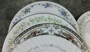 8-Vtg-White-Lavender-Pink-Blue-Floral-Mismatched-China-Dinner-Plates-Wedding-DPv