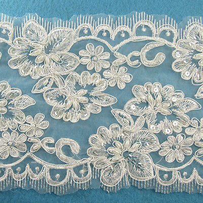 1 METRE CREAM / IVORY BEADED LACE BRIDAL WEDDING TRIM TRIMMINGS 150mm WIDTH HL73