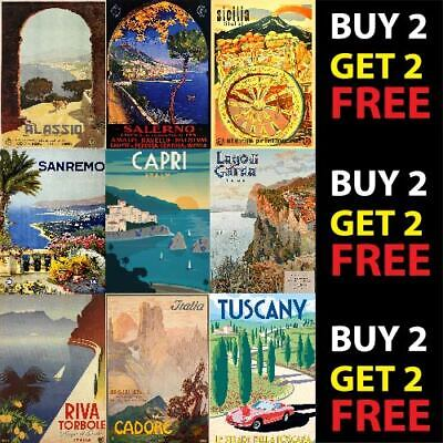 VINTAGE SANREMO ITALY TRAVEL A4 POSTER PRINT