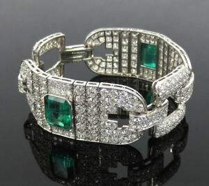 Certified-Art-Deco-16-0ct-Old-Cut-Diamond-amp-10-0ct-Emerald-Platinum-Bracelet