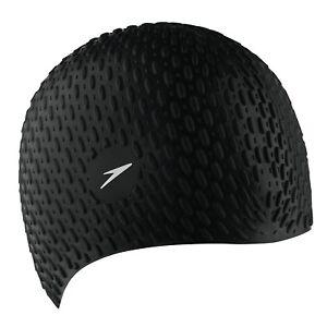 Speedo-Silicone-Textured-Bubble-Swimming-Swim-Cap-Black-UV-Protection-Flexible