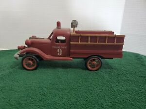 Wooden Fire Truck Engine CO #9  Lights Tools Ladders Siren Collectible