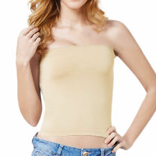 3a74ddd9c2 Charm Basic Layering Stretch Plain Strapless Tube Top Seamless Sleeveless  Tee