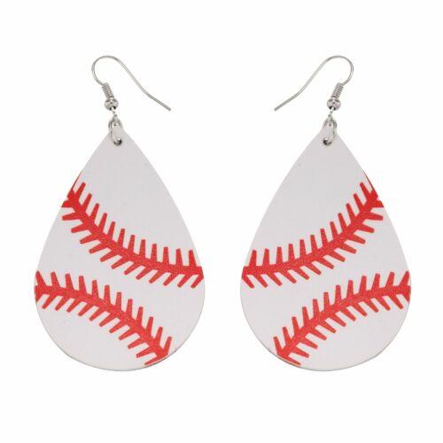 Fashion Baseball Cuir Boucles D/'Oreilles Femmes Filles Sports Softball Larme Feuille Cadeau