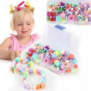 Girls-DIY-Beads-Set-Necklace-Bracelet-Jewelry-Making-Crafts-Kits-FM