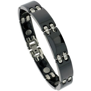 Black-Tungsten-Carbide-Ceramic-Bar-Magnetic-Bracelet-w-Cubic-Zirconia-Stones