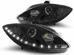 Coppia-di-Fari-Anteriori-LED-DRL-Look-Seat-LEON-1P-ALTEA-TOLEDO-Daylight-Neri-IT