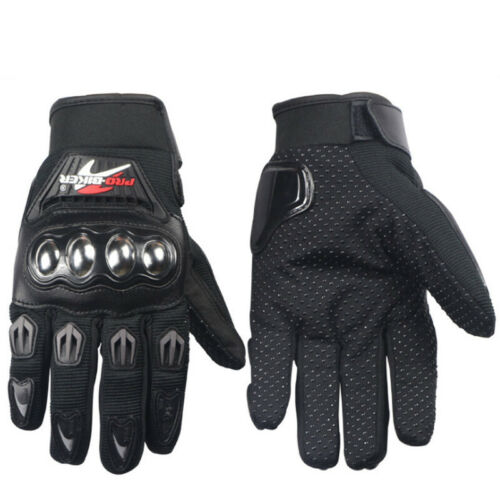 Leather Motorcycle Full Finger Reflective Gloves Motorbike Racing Moto Driving