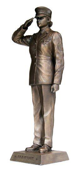 KA307 Female Marine Salute - Khaki Army 12.75  Bronze Finish Military Statue