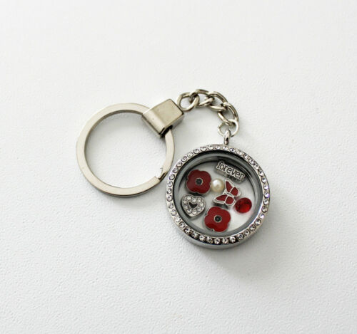 Red POPPY Flower Memory Locket Necklace Keyring Bracelet Remembrance day Gift