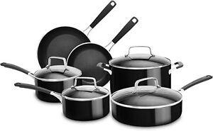 KitchenAid Aluminum Non-Stick 10-Piece Cookware Set In Onyx Black, KC2AS10OB