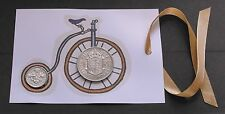 1967 50th birthday Lucky sixpence Half Crown Penny Farthing Bike gift tag card