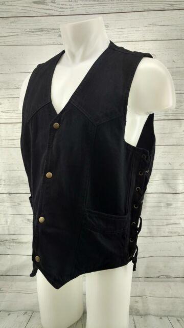 Black, Medium Milwaukee Performance Side Lace Basic Denim Vest