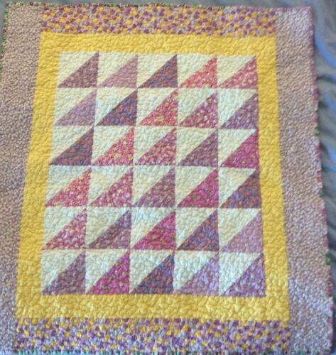 Baby girl quilt, lavender and yellow, handmade