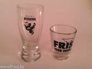 2 SHOT VODKA SHOT GLASSES WODKA WYBOROWA FRIS RUSSIAN RUSSAN DENMARK USSR