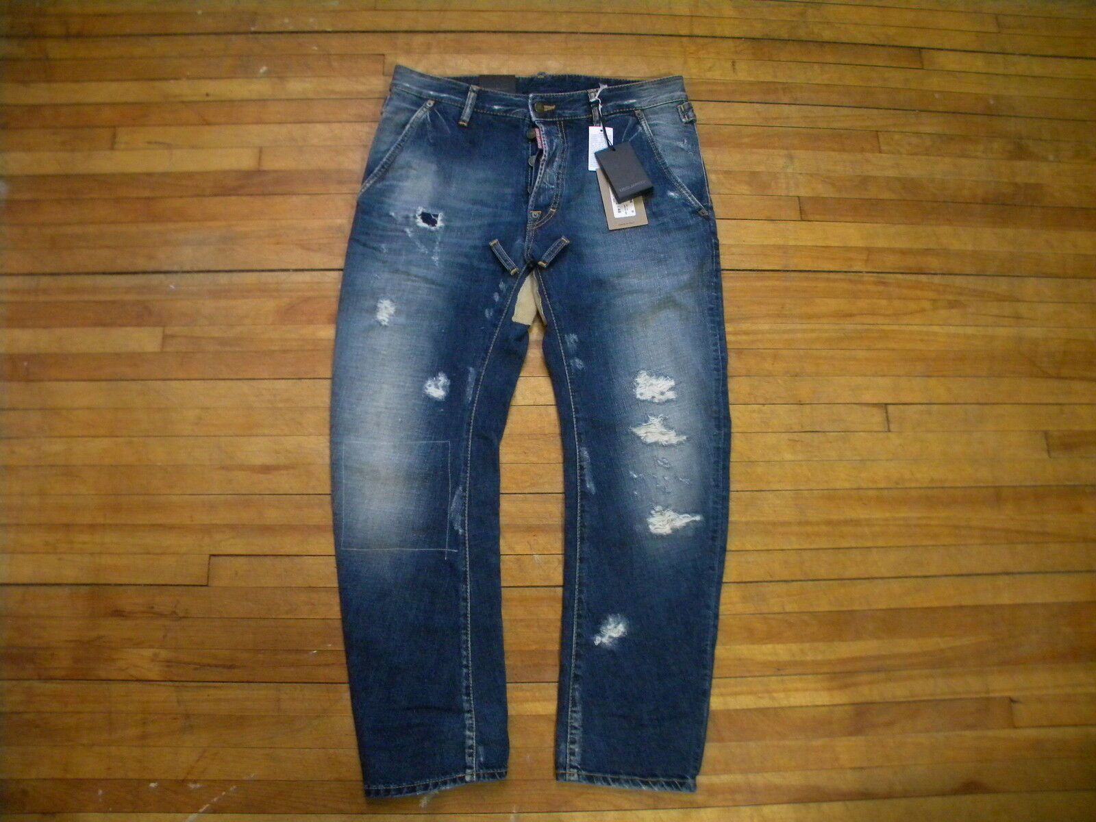 DSQUARED² RARE LONG CredCH DISTRESSED CredCH PATCHED WASH blueE DENIM JEANS 46 30
