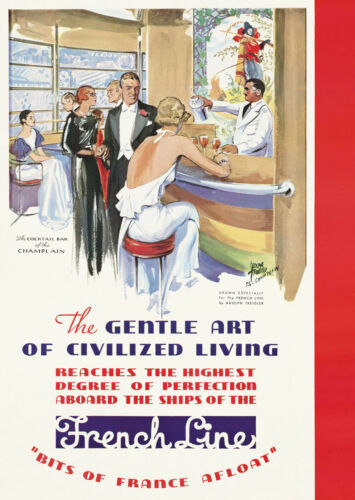 """FRENCH LINES S.S. CHAMPLAIN """"Civilised Living"""" Retro Travel Poster A1A2A3A4Sizes"""