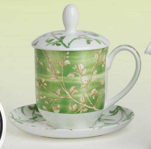 Teetasse mit Sieb und Deckel Yasmin lindgrün Bone China Porzellan