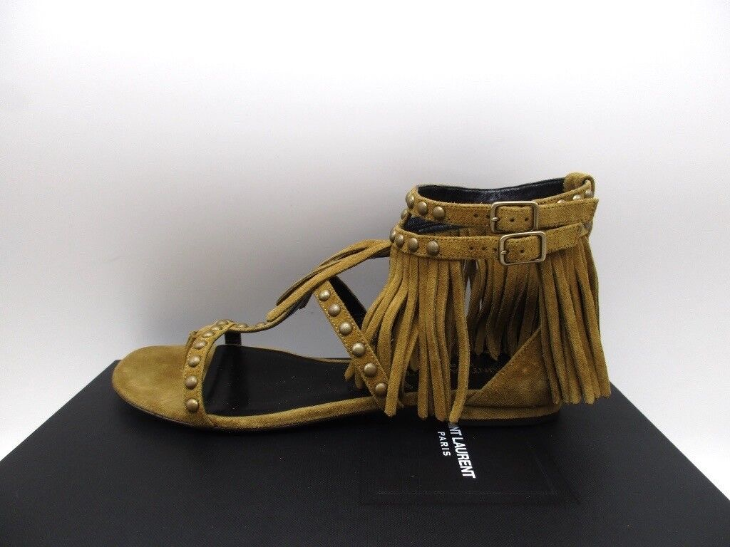 Saint Laurent Nu Pieds 10 Fringe Stud Flat Gladiator Sandals 37 7