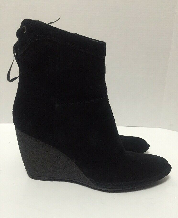Via Spiga Ankle Boots Wedge Side Side Side Zip Black Suede Womens Size 8.5 dd9d4f