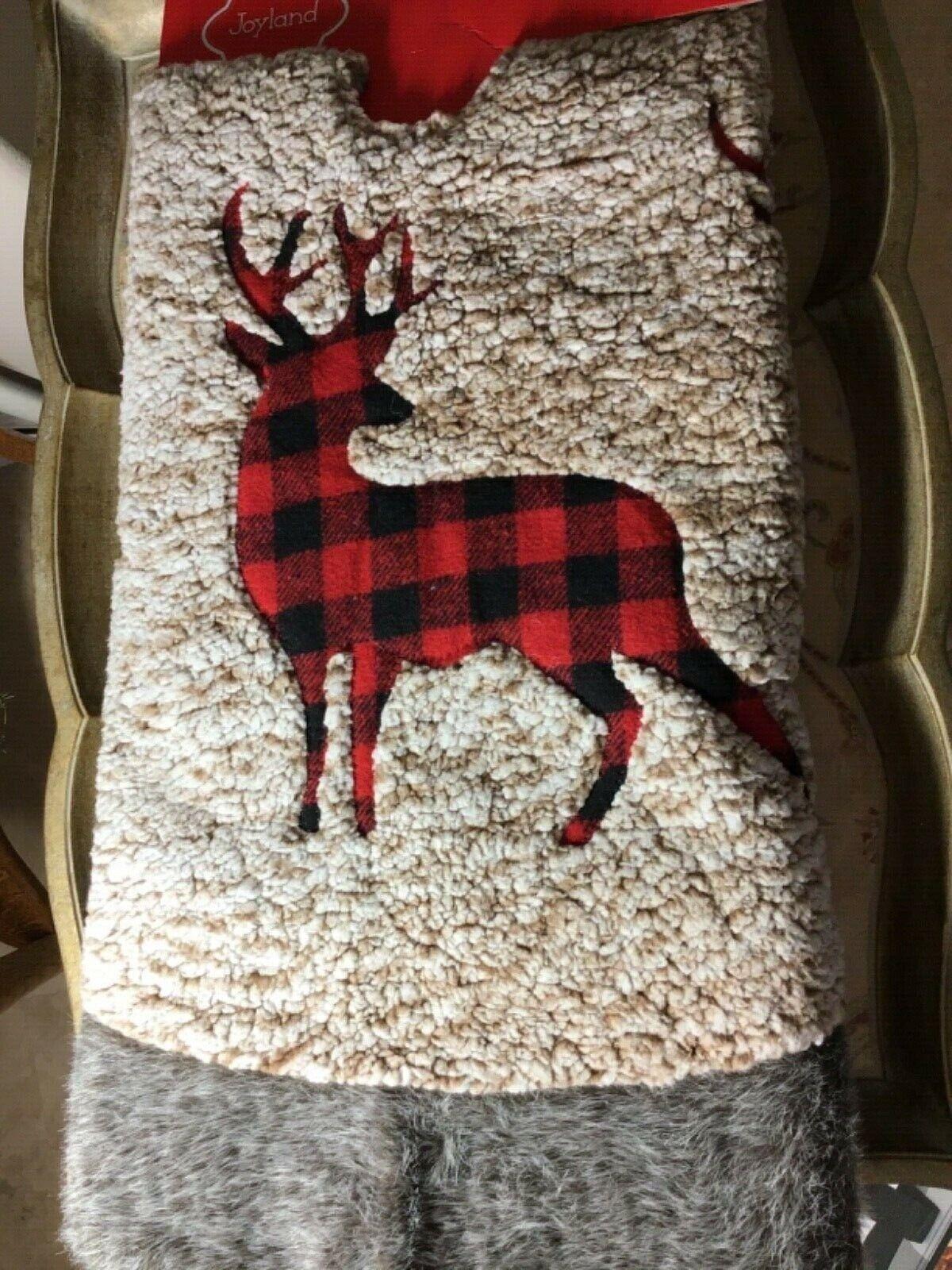 Christmas Tree Skirt Xmas Red Burgundy Tartan Faux Fur Check Plaid Buffalo Black