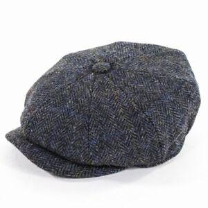 Effizient Failsworth Carloway Harris Tweed Bakerboy Cap Hüte & Mützen Blue /grey